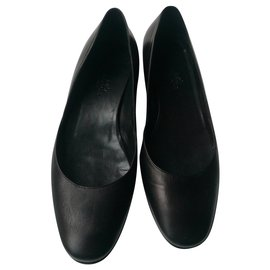 Hermès-HERMES Ballerinas black leather T38 Wedges-Black