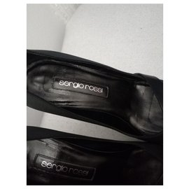 Sergio Rossi-Leather and satin pumps-Black