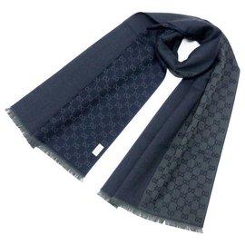 Gucci-GUCCI SCIARPA UNISEX 40x180 100% LANA VERDE BLU-Bleu,Vert