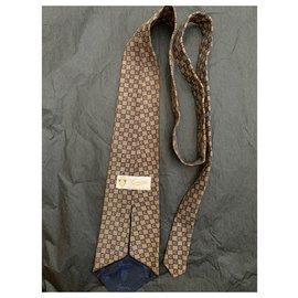 Gucci-Cravate vintage Gucci-Beige,Bleu Marine