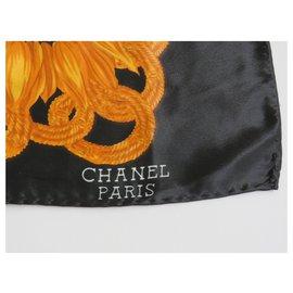 Chanel-Foulard chanel-Noir,Moutarde