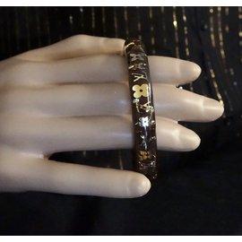 Louis Vuitton-Louis Vuitton Bracelet Marron Fleurs Inclusion Monogramme Doré-Noir