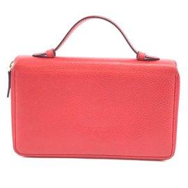 Gucci-Portefeuille Organisé à Fermeture Éclair Gucci Rouge Soho GG-Rouge