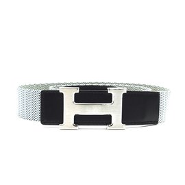 Hermès-Hermes 32mm Leather and Canvas Reversible Belt Size 95-Multiple colors