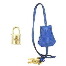 Hermès-Hermès Clochette Bleu Doré avec Serrure Deux Clés #113-Bleu