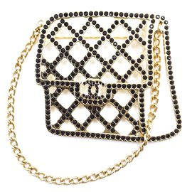 Chanel-Chanel Classic Flap CC Hardware Gold Black Brooch-Multiple colors