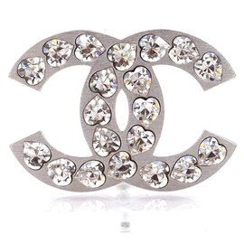 Chanel-Chanel Silver CC Heart Crystals Hardware Brooch-Silvery