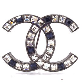 Chanel-Chanel Crystals Sapphire Blue CC Hardware Brooch-Multiple colors