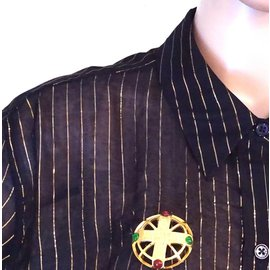 Chanel-Chanel Gold Cc Round Cutout Stones Hardware Brooch-Multiple colors