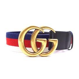 Gucci-Gucci Multicolor GG Stripe Leather Taille 70/28 ceinture-Multicolore