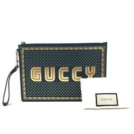 Gucci-Gucci GUCCY Logo Zippé Pochette Cuir Noir Or-Vert