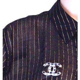 Chanel-Chanel Broche CC Vichy Noir Blanc-Multicolore