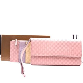 Gucci-Gucci Rose Long With Inserts GG Flap Wristlet Wallet-Rose