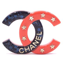 Chanel-Chanel Blue Pink CC Glitter Star Brooch-Multiple colors