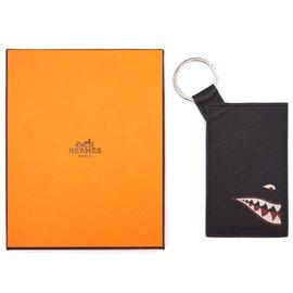 Hermès-Porte-cartes Hermès Black Citypass Shark Badge-Noir