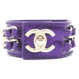 Chanel-Chanel CC Turnlock Chains Cuff Sku#28332-Purple