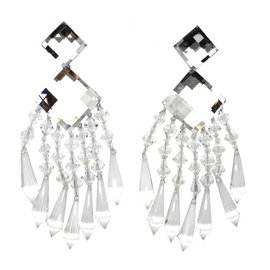Balmain-Boucles d'oreilles en cristal clair Chanderlier exceptionnel Balmain-Autre