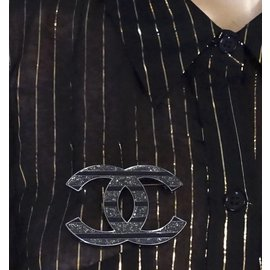 Chanel-Chanel Silver Black CC Glitters Brooch-Black
