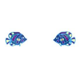 Chanel-Boucles d'oreilles Chanel CC Clear Glitters Fishes-Multicolore