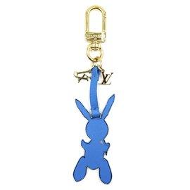 Louis Vuitton-Porte-clés Louis Vuitton or bleu Jeff Koon lapin porte-clés-Bleu