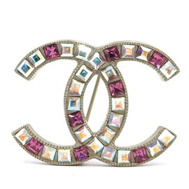 Chanel-Chanel Gold Multicolor Baguette CC Clear Crystals Brooch-Multiple colors