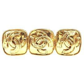 Chanel-Chanel Triple CC Square Hardware Brooch-Golden