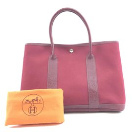Hermès-Hermès Toile Garden Party 36 GM Burgundy Leather-Red
