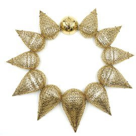 Louis Vuitton-Louis Vuitton Gold Lv Plastron Hologram Crew Choker-Doré
