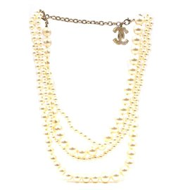 Chanel-Chanel CC Five Strands Pearl Multi Chain Charm Necklace-Other