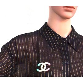 Chanel-Chanel CC Rainbow Stud Hardware Brooch-Other