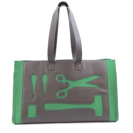 Hermès-Hermès Petit H Skeleton GM Green Brown Leather-Green