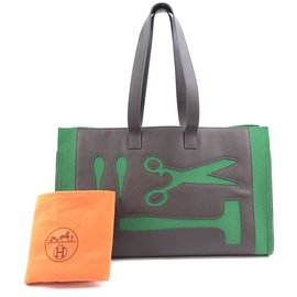 Hermès-Hermès Petit H Skeleton GM Green Brown Leather-Vert