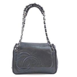 Chanel-Chanel CC Chain Strap Flap Noir Cuir-Noir