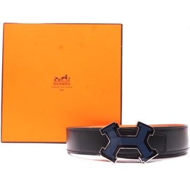 Hermès-Hermes 32mm Street Enamel H Reversible Leather Belt Size 85-Black
