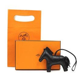 Hermès-Hermès Black Rodeo MM Horse Charm-Noir