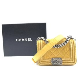 Chanel-Chanel Boy Mini CC Yellow Velvet-Jaune