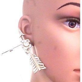Chanel-Boucles d'oreilles Crystals CC Arrow Cuffs-Doré