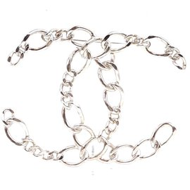 Chanel-Chanel Silver Cc Hardware Chains Metal Brooch-Silvery