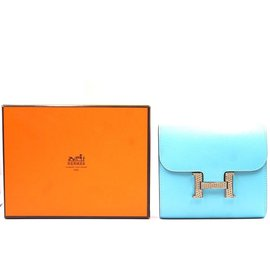 Hermès-Hermès Constance Wallet Organizer Compact Blue Bleu Atoll Clutch-Blue