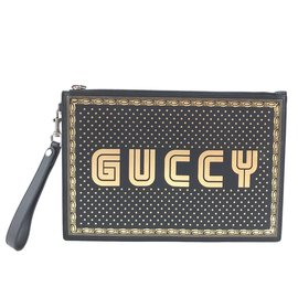 Gucci-Gucci GUCCY Logo Zippé Pochette Cuir Noir Or-Noir