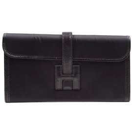 Hermès-Hermès Jige Long H Logo Black Lizard Skin Leather-Black