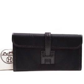 Hermès-Hermès Jige Long H Logo Black Lizard Skin Leather-Black