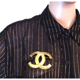Chanel-Chanel Cc Gold Timeless Interlocking Brooch-Golden
