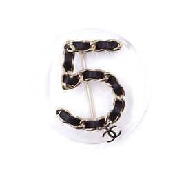Chanel-Chanel Clear Black Number 5 Round Silver Brooch-Black