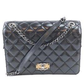 Chanel-Chanel Classic Flap Cuir d'agneau noir-Noir