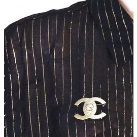 Chanel-Chanel Champagne Gold CC Interlock Brooch-Golden