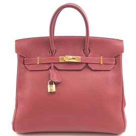 Hermès-HERMES BIRKIN 32 Hac Red Clemence Leather-Red