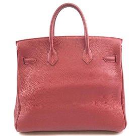 Hermès-HERMES BIRKIN 32 Cuir Hac Red Clemence-Rouge