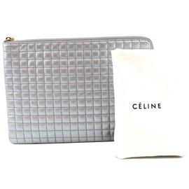 Céline-Céline Clutch Zippy Silver calf leather Leather-Silvery