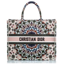 Dior-Dior Brown Embroidered Book Tote-Brown,Multiple colors,Beige
